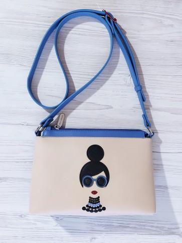 фото сумка Alba Soboni 201312 голубой-бежевый купить