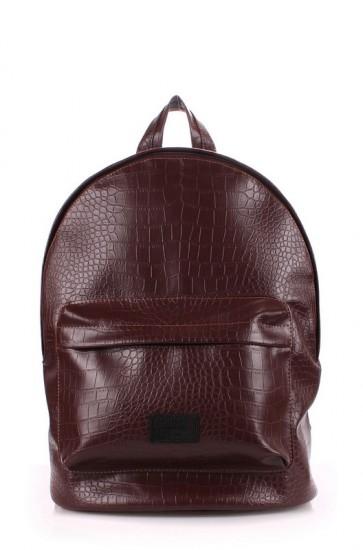 фото рюкзак POOLPARTY backpack-croco-brown купить
