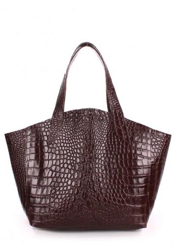 фото сумка POOLPARTY fiore-caiman-brown купить