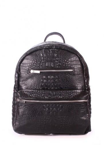 фото рюкзак POOLPARTY mini-bckpck-leather-croco-black купить