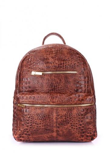 фото рюкзак POOLPARTY mini-bckpck-leather-croco-brown купить