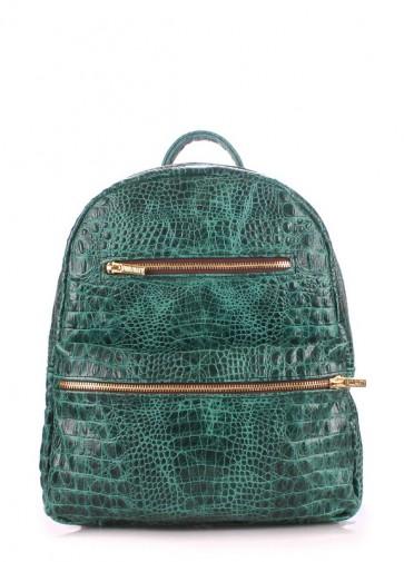 фото рюкзак POOLPARTY mini-bckpck-leather-croco-green купить