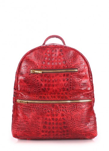 фото рюкзак POOLPARTY mini-bckpck-leather-croco-red купить