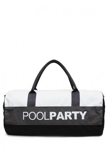 фото сумка POOLPARTY poolparty-gymbag-white-grey-black купить