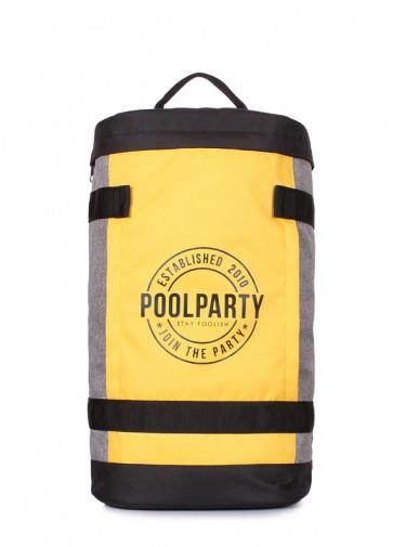фото рюкзак POOLPARTY tracker-yellow-grey купить