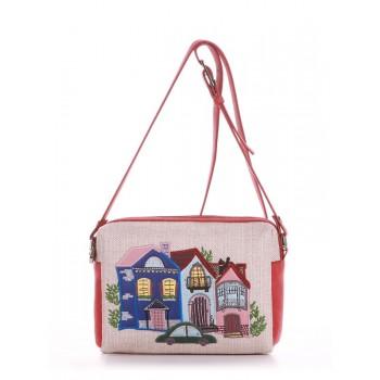 фото сумка Alba Soboni 190422 бежевый-красный купить