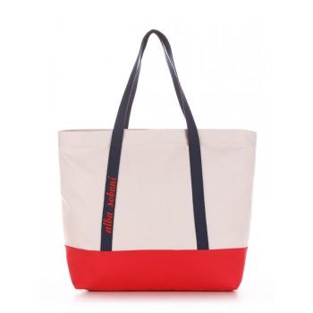 фото сумка Alba Soboni 190444 светло-серый-красный купить