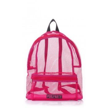 фото рюкзак POOLPARTY backpack-mesh-pink купить