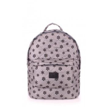 фото рюкзак POOLPARTY backpack-snowflakes-grey купить
