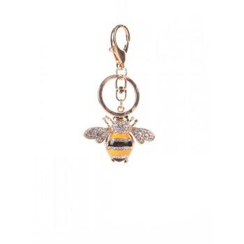 фото брелок Alba Soboni пчела со стразами золотая купить